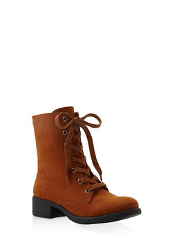 Lace Up Combat Boots - CHESTNUT - 3116004063474