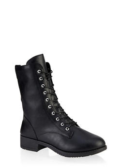 Lace Up Zip Combat Boots - 3116004063475