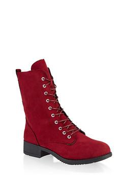 Lace Up Zip Combat Boots - 3116004063475