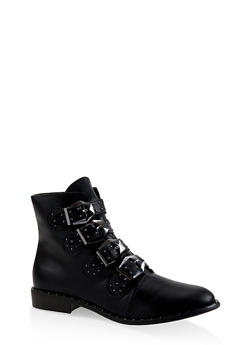 Buckle Strap Studded Booties - BLACK - 3116004063776