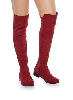 Over The Knee Boots with Side Zipper - 3116004064267