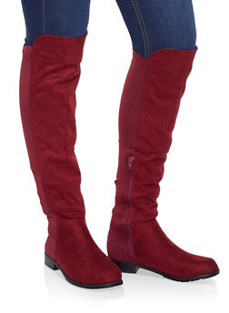 Over the Knee Stretch Panel Boots - WINE - 3116004064268
