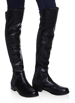 Over the Knee Stretch Panel Boots - BLACK - 3116004064269