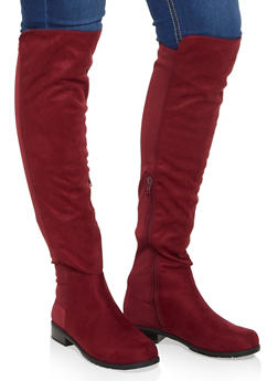 Over the Knee Stretch Panel Boots - WINE - 3116004064269