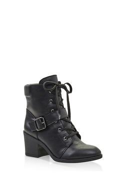 Mid Heel Combat Boots - 3116004065684