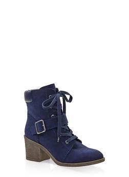 Mid Heel Combat Boots - NAVY - 3116004065684