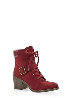Mid Heel Combat Boots - WINE - 3116004065684
