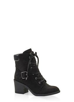 Mid Heel Combat Boots - BLACK SUEDE - 3116004065684