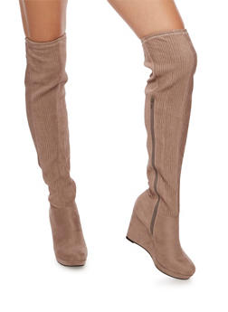Over the Knee Wedge Boots with Ribbed Detail - LIGHT TAUPE F/S - 3116004066293
