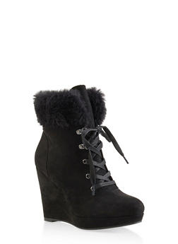 Faux Fur Cuff Wedge Booties - 3116004066297