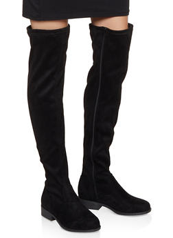 Side Zip Over the Knee Boots | 3116004066697 - BLACK SUEDE - 3116004066697