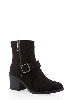 Buckle Mid Heel Booties - BLACK SUEDE - 3116004066843
