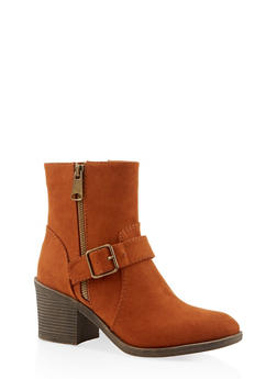 Buckle Mid Heel Booties - CHESTNUT - 3116004066843