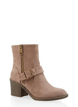 Buckle Mid Heel Booties - TAUPE - 3116004066843