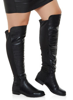 Over the Knee Low Heel Wide Calf Boots - BLACK - 3116004067269