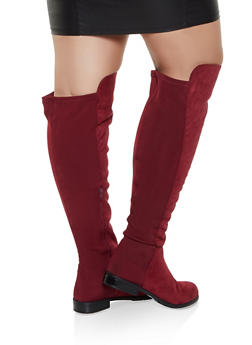 Over the Knee Low Heel Wide Calf Boots - WINE - 3116004067269