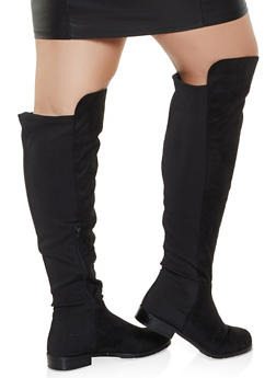 Over the Knee Low Heel Wide Calf Boots - BLACK SUEDE - 3116004067269