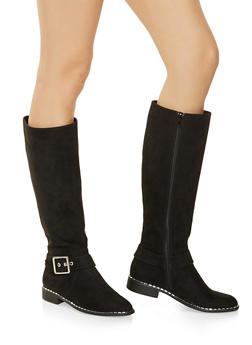 Studded Sole Boots - BLACK SUEDE - 3116004067337