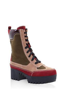 Platform Combat Boots - WINE - 3116004067637