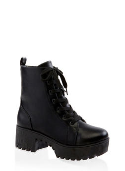Lace Up Platform Combat Boots | 3116004067640 - BLACK - 3116004067640