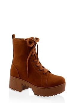 Lace Up Platform Combat Boots | 3116004067640 - BROWN - 3116004067640