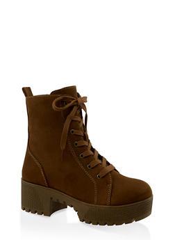 Lace Up Platform Combat Boots | 3116004067640 - OLIVE - 3116004067640