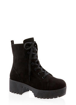 Lace Up Platform Combat Boots | 3116004067640 - BLACK SUEDE - 3116004067640