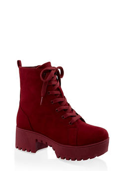 Lace Up Platform Combat Boots | 3116004067640 - BURGUNDY - 3116004067640