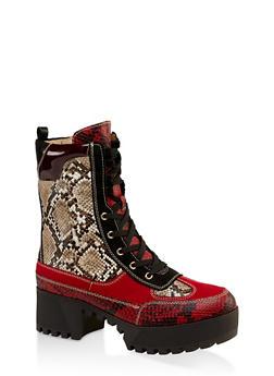 Platform Lace Up Combat Boots - RED - 3116004067641
