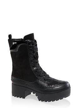 Platform Lace Up Combat Boots - BLACK SUEDE - 3116004067641