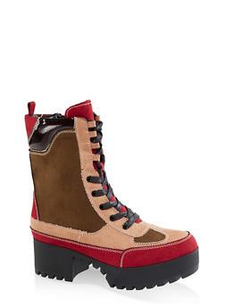 Platform Lace Up Combat Boots - BURGUNDY - 3116004067641
