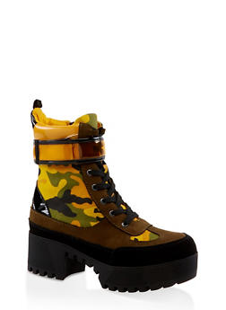 Velcro Strap Detail Platform Boots - YELLOW - 3116004067642
