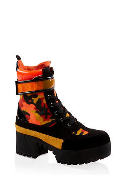 Velcro Strap Detail Platform Boots - ORANGE - 3116004067642