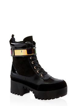 Velcro Strap Detail Platform Boots - BLACK MULTI - 3116004067642