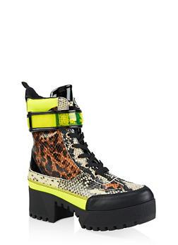 Velcro Strap Detail Platform Boots - LEOPARD PRINT - 3116004067642