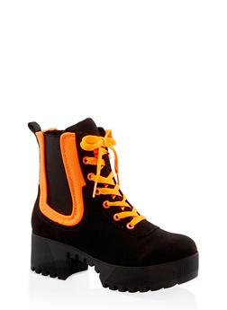 Contrast Trim Platform Boots - NEON ORANGE - 3116004067643
