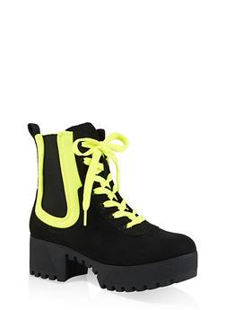 Contrast Trim Platform Boots - NEON YELLOW - 3116004067643