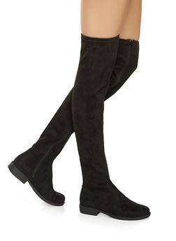Over the Knee Zip Boots - BLACK SUEDE - 3116004067673
