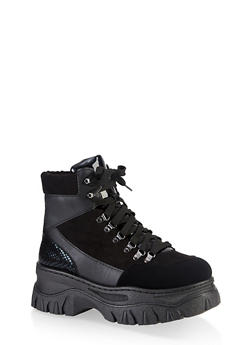 Chunky Lace Up Booties - BLACK MULTI - 3116004067684