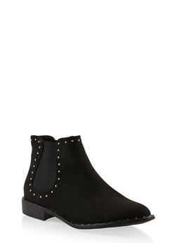 Studded Ankle Booties - BLACK SUEDE - 3116004067738