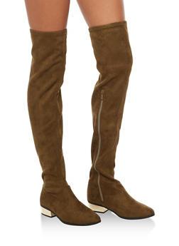Over the Knee Boots with Mirror Metallic Heel - 3116004067827