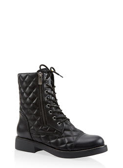 Quilted Combat Boots - 3116004068724