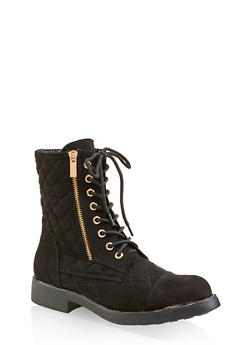 Quilted Combat Boots - BLACK SUEDE - 3116004068724