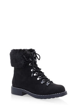 Faux Fur Cuff Lace Up Combat Boots - BLACK SUEDE - 3116004068725