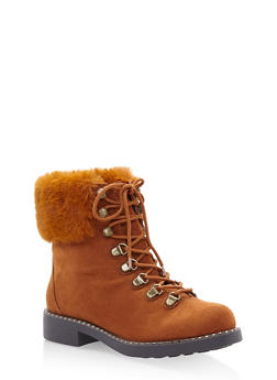Faux Fur Cuff Lace Up Combat Boots - CHESTNUT - 3116004068725