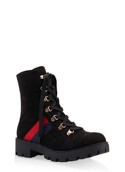 Ribbon Trim Lace Up Combat Boots - 3116004069453