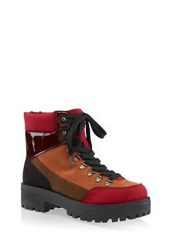 Platform Combat Boots   3116004069455 - BURGUNDY - 3116004069455