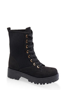 Ribbed Lace Up Combat Boots - BLACK SUEDE - 3116004069456