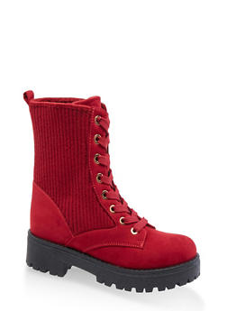 Ribbed Lace Up Combat Boots - BURGUNDY - 3116004069456