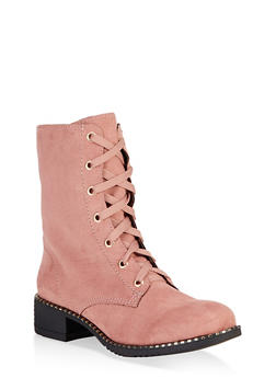 Studded Sole Combat Boots - BLUSH - 3116014062664